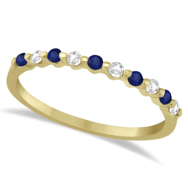 Diamond and Blue Sapphire Wedding Band 18K Yellow Gold (0.30ct)
