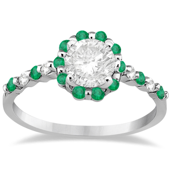 Diamond and Emerald Halo Engagement Ring 14K White Gold (0.64ct)
