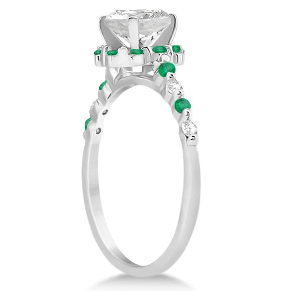 Diamond and Emerald Halo Engagement Ring Platinum (0.64ct)