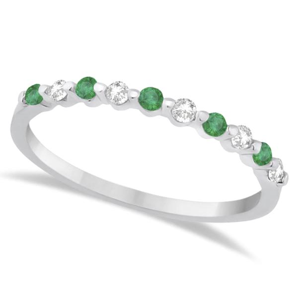 Diamond and Emerald Engagement Ring Bridal Set 14K White Gold (0.94ct)
