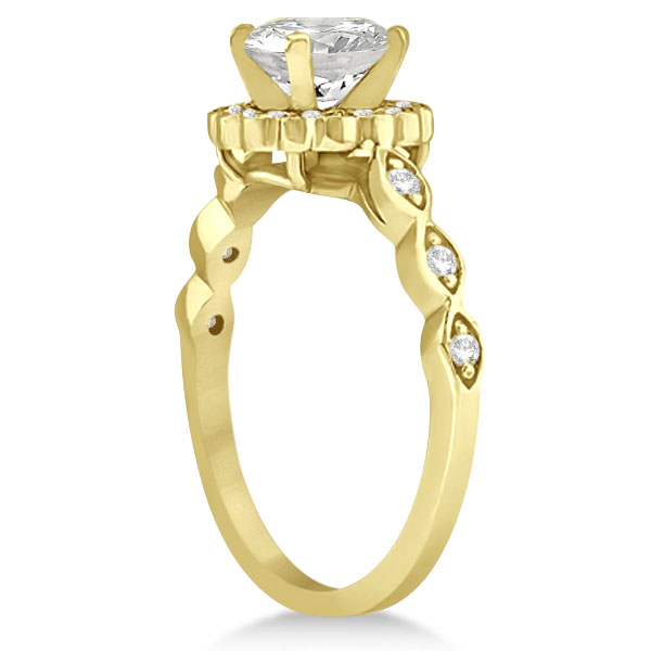 Floral Halo Diamond Marquise Engagement Ring 14k Yellow Gold (0.24ct)