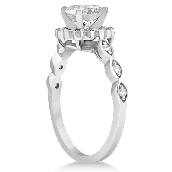 Floral Halo Diamond Marquise Engagement Ring 18k White Gold (0.24ct)