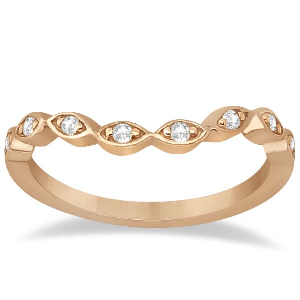 Floral Diamond Halo Bridal Set Ring & Band 18k Rose Gold (0.36ct)