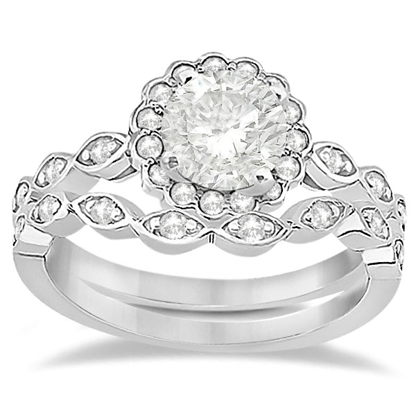 Floral Diamond Halo Bridal Set Ring & Band 18k White Gold (0.36ct)
