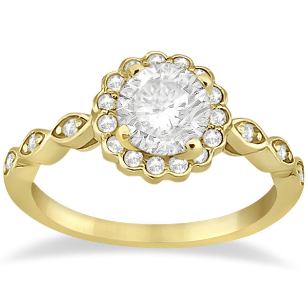 Floral Diamond Halo Bridal Set Ring & Band 18k Yellow Gold (0.36ct)