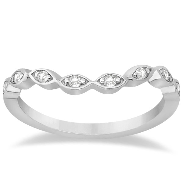 Petite Contour Floral Diamond Wedding Band 14k White Gold (0.12ct)