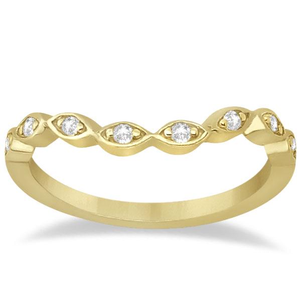 Petite Contour Floral Diamond Wedding Band 18k Yellow Gold (0.12ct)