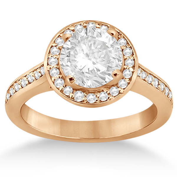 Carved Heart Halo Diamond Engagement Ring 14k  Rose Gold (0.31ct)
