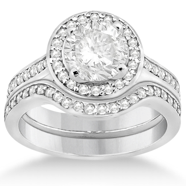 Carved Heart Pave Diamond Engagement Ring & Band Palladium (0.55ct)