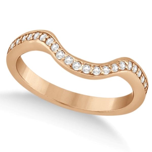 Semi-Eternity Contour Pave Diamond Wedding Band 14k Rose Gold (0.24ct)
