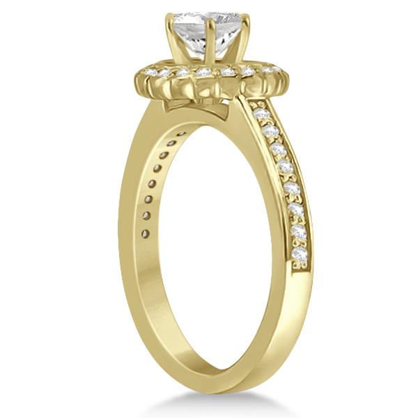 Modern Flower Halo Diamond Engagement Ring 14k Yellow Gold (0.29ct)