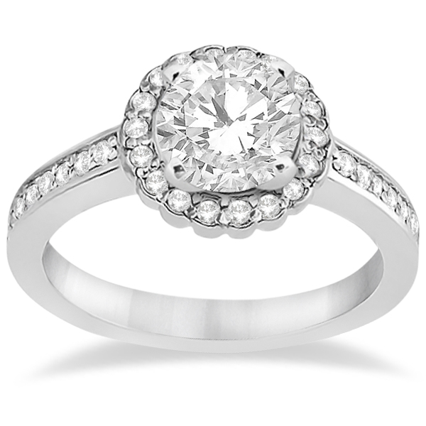 Modern Flower Halo Diamond Engagement Ring 18k White Gold (0.29ct)