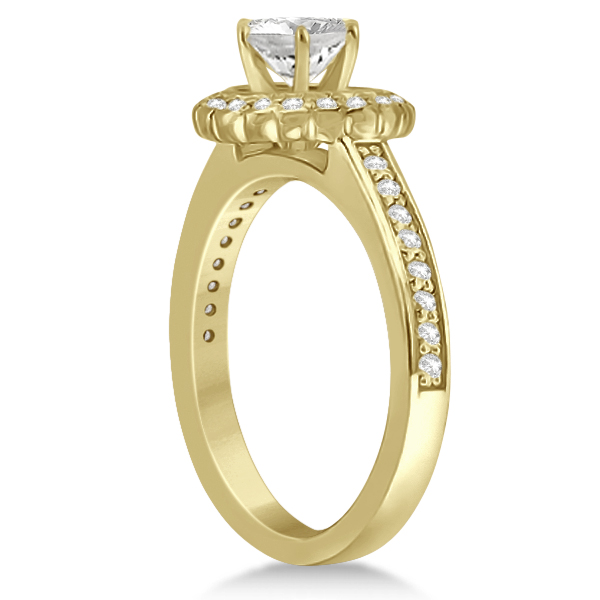 Modern Flower Halo Diamond Engagement Ring 18k Yellow Gold (0.29ct)