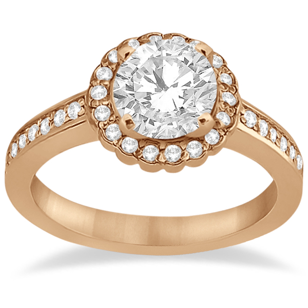 Modern Flower Halo Diamond Engagement Set 14k Rose Gold (0.50ct)