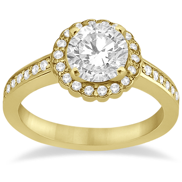 Modern Flower Halo Diamond Engagement Set 14k Yellow Gold (0.50ct)