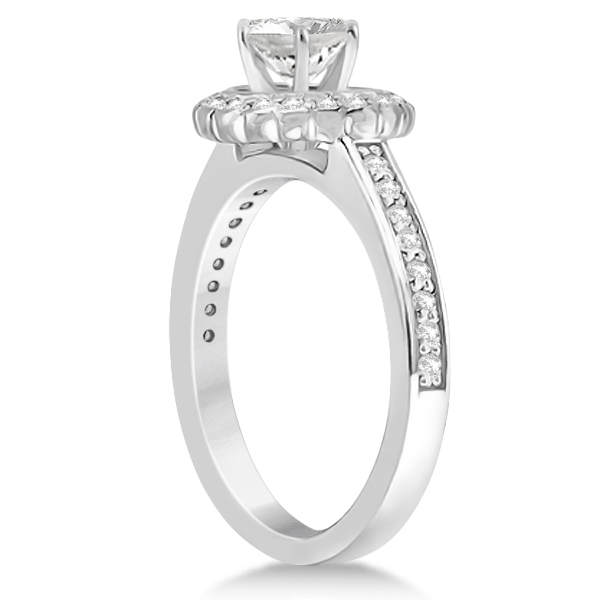 Modern Flower Halo Diamond Engagement Set Platinum (0.50ct)