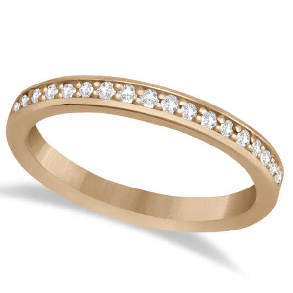 Semi-Eternity Diamond Wedding Ring 18k Rose Gold (0.21ct)