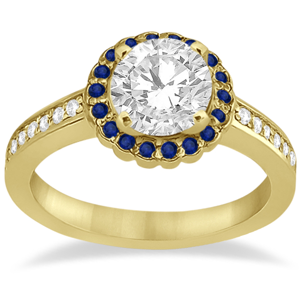 Halo Diamond & Blue Sapphire Bridal Ring Set 14k Yellow Gold (0.83ct)