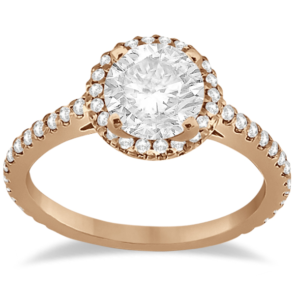 Micro Pave Halo Diamond Eternity Engagement Ring 14K Rose Gold 0 51ct