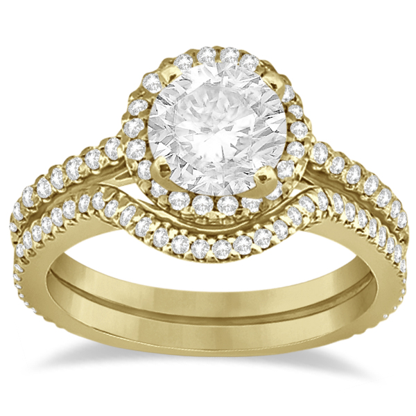 Halo Diamond Eternity Engagement Ring & Wedding Band 14K Yellow Gold (0.75ct)