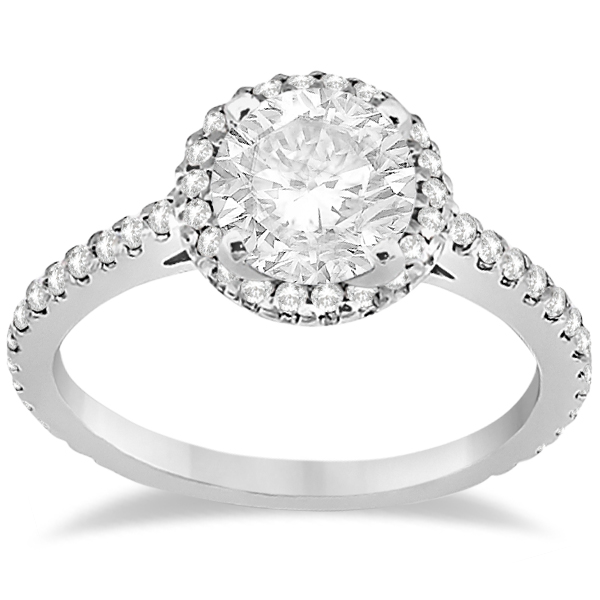 Halo Diamond Eternity Engagement Ring & Wedding Band 18K White Gold (0.75ct)