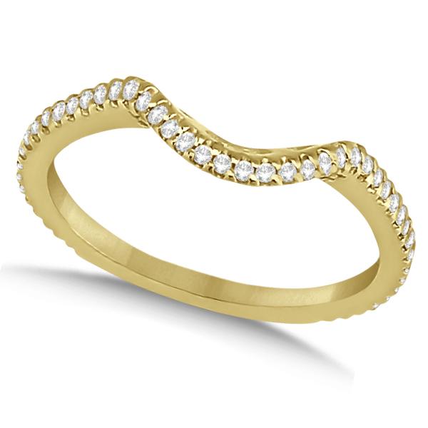 Diamond Contour Eternity Wedding Band 18K Yellow Gold (0.24ct)