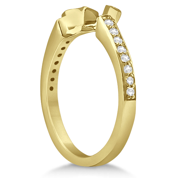 Curved Diamond Pave Wedding Band 14K Yellow Gold (0.21ct)