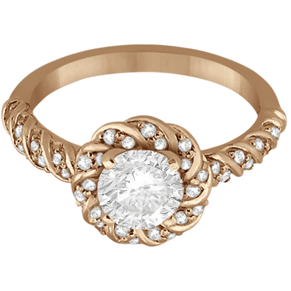 Diamond Halo Rope Engagement Ring Setting 14k Rose Gold (0.27ct)