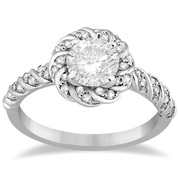 Diamond Halo Rope Engagement Ring Setting 14k White Gold (0.27ct)