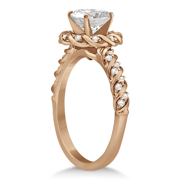 Diamond Halo Rope Engagement Ring Setting 18k Rose Gold (0.27ct)