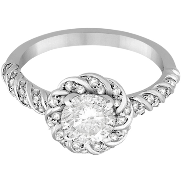 Diamond Halo Rope Engagement Ring Setting 18k White Gold (0.27ct)