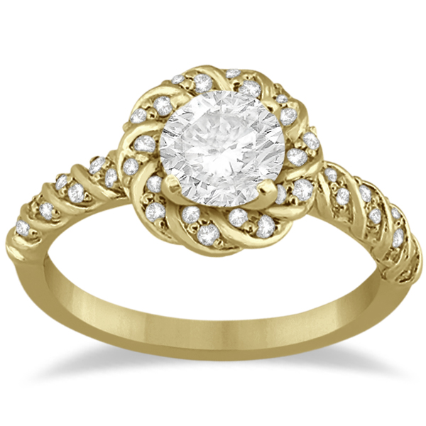 Diamond Halo Rope Engagement Ring Setting 18k Yellow Gold (0.27ct)