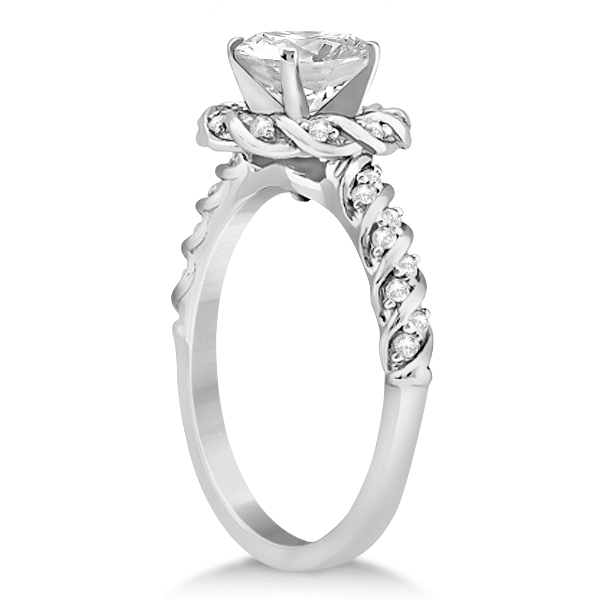 Diamond Halo Rope Engagement Ring Setting Palladium (0.27ct)