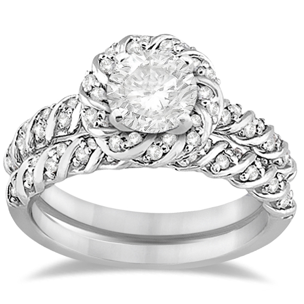 Diamond Rope Halo Engagement Ring with Band 14k White Gold (0.44ct)