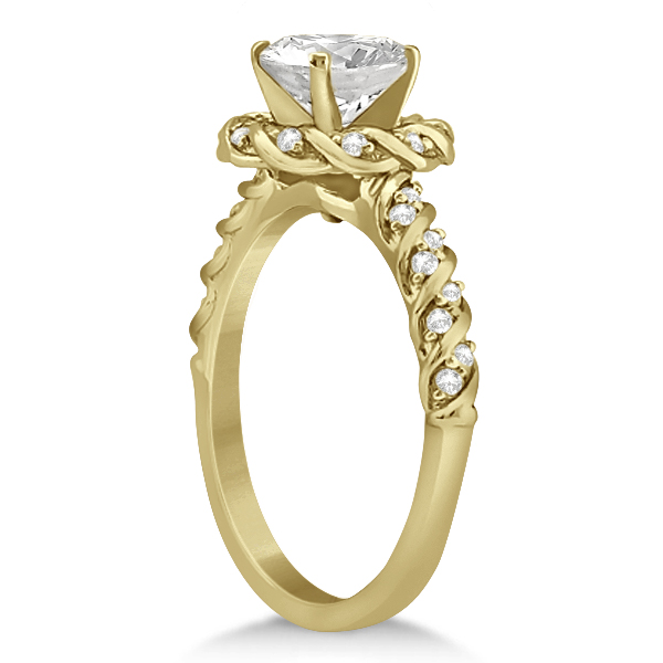 Diamond Rope Halo Engagement Ring With Band 14k Yellow Gold (0.44ct)