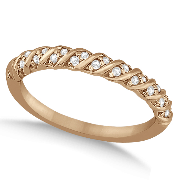 Diamond Rope Halo Engagement Ring With Band 18k Rose Gold (0.44ct)