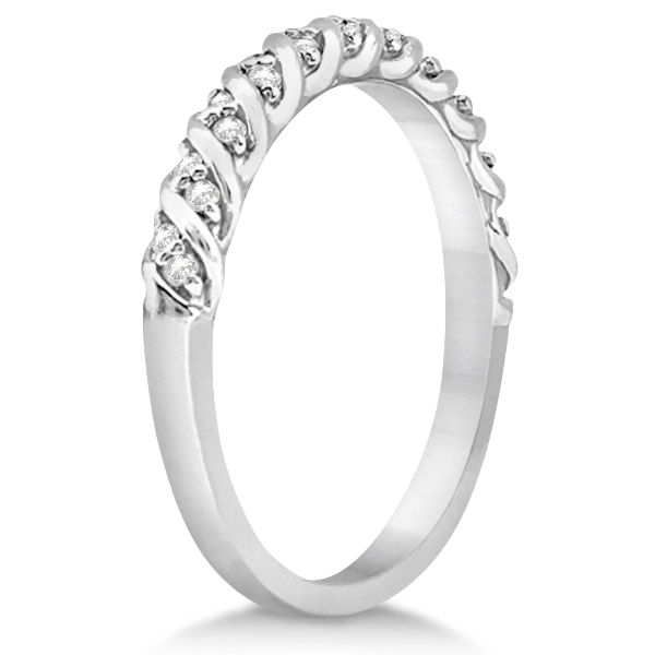 Diamond Rope Halo Engagement Ring with Band 18k White Gold (0.44ct)