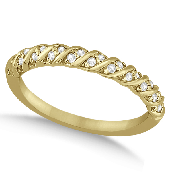 Diamond Rope Halo Engagement Ring With Band 18k Yellow Gold (0.44ct)