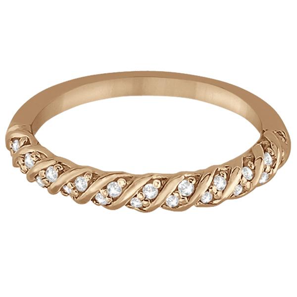 Diamond Rope Wedding Band in 14k Rose Gold (0.17ct)