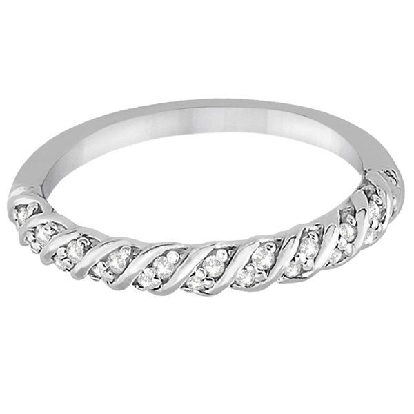 Diamond Rope Wedding Band in 14k White Gold (0.17ct)