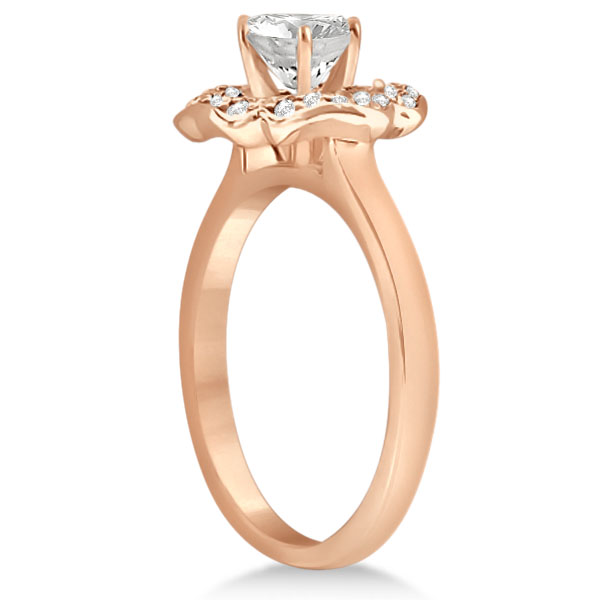 Halo Diamond Flower Engagement Ring Setting 14k Rose Gold (0.30ct)