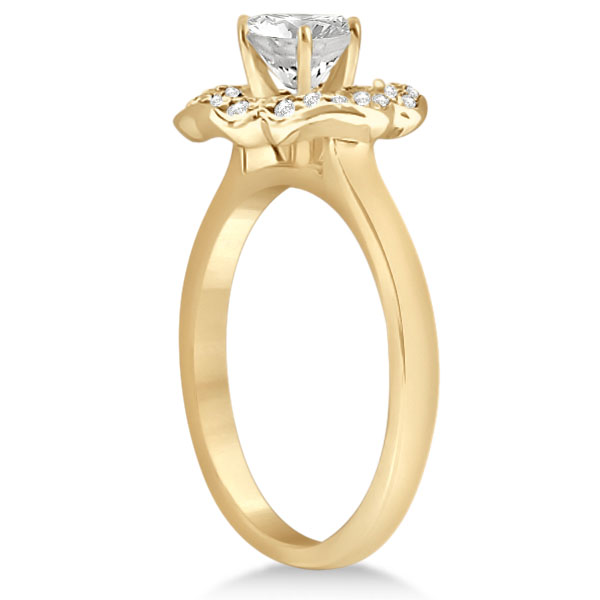 Halo Diamond Flower Engagement Ring Setting 18k Yellow Gold (0.30ct)