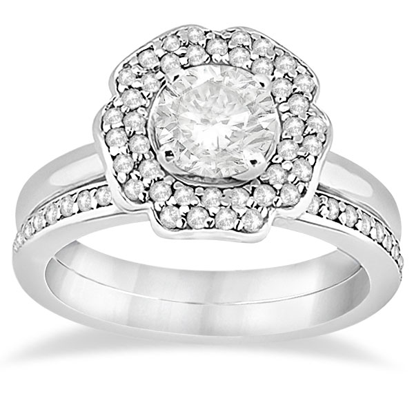 Halo Diamond Floral Engagement Ring and Band 18k White Gold (0.48ct)
