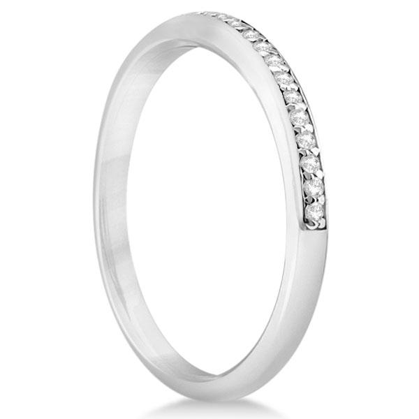 Half-Eternity Diamond Pave Wedding Band 14k White Gold (0.18ct)