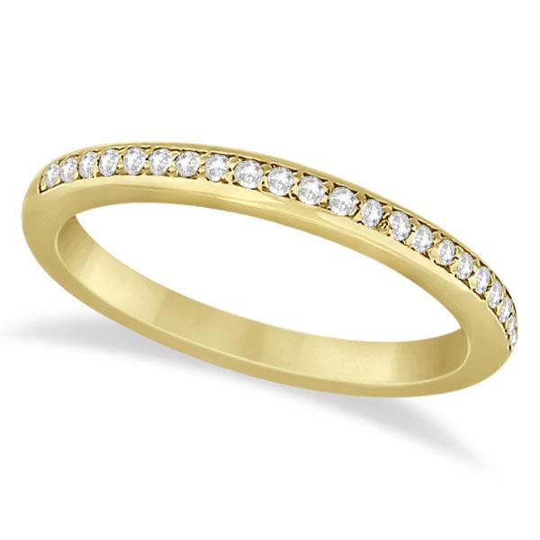 Half-Eternity Diamond Pave Wedding Band 18k Yellow Gold (0.18ct)