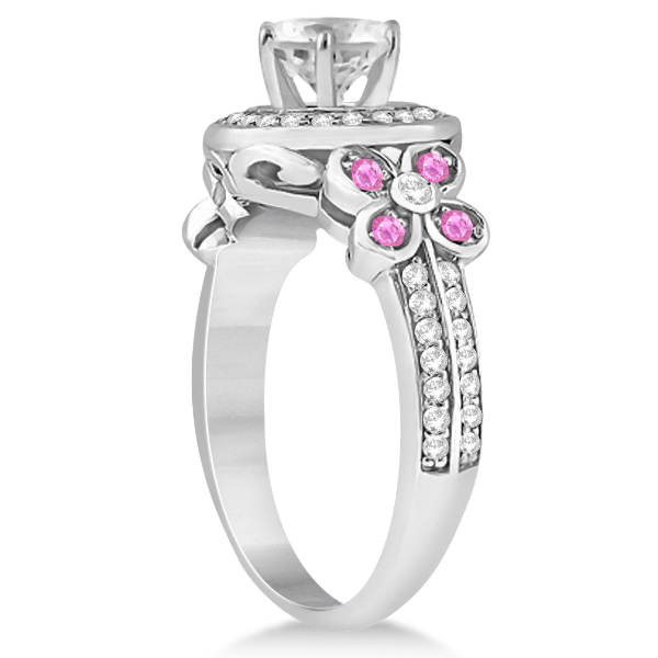 Diamond & Pink Sapphire Floral Halo Engagement Ring 14k White Gold (0.35ct)