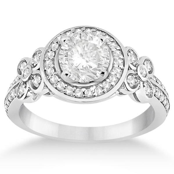 Diamond Flower Engagement Ring & Band Bridal Set 14k W. Gold (0.51ct)