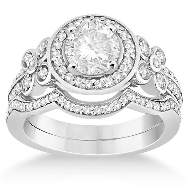 Diamond Flower Engagement Ring & Band Bridal Set Palladium (0.51ct)