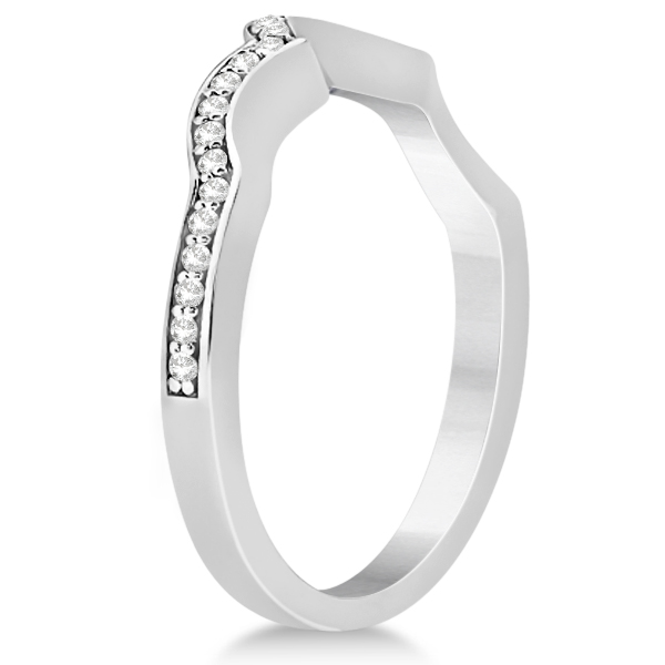 Diamond Flower Engagement Ring & Band Bridal Set in Platinum (0.51ct)