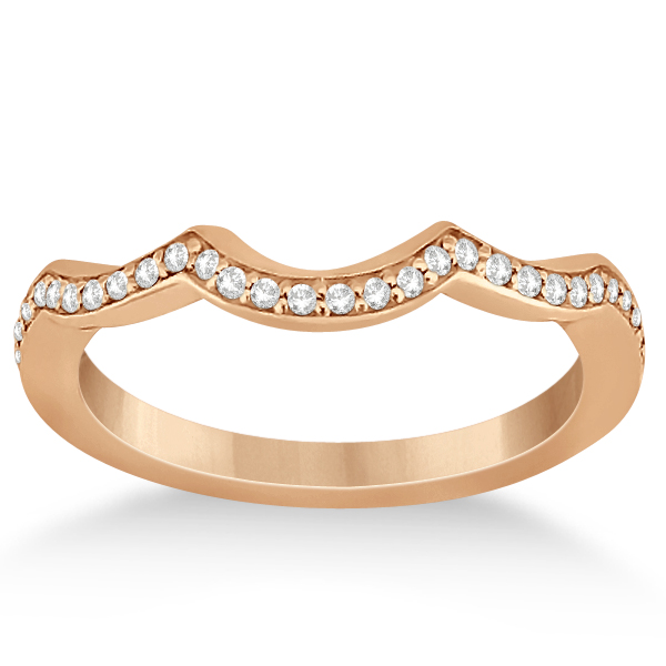 Diamond Channel Set Curved Wedding Band 18k Rose Gold 016ct